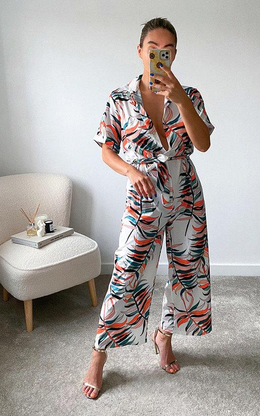 Cinzia Tie Waist Printed Culotte Jumpsuit