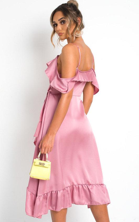 beb1db1945d51 Clara Frill Satin Wrap Dress in Rose | ikrush