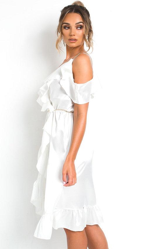 3c00c5c5158a3 Clara Frill Satin Wrap Dress in White | ikrush