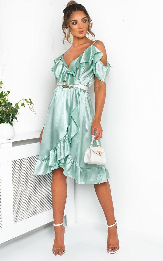 Clara Frill Satin Wrap Dress