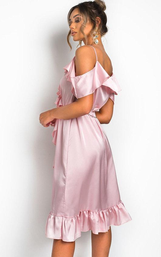 cc1bf92ab7fa3 Clara Frill Satin Wrap Dress in Pink | ikrush