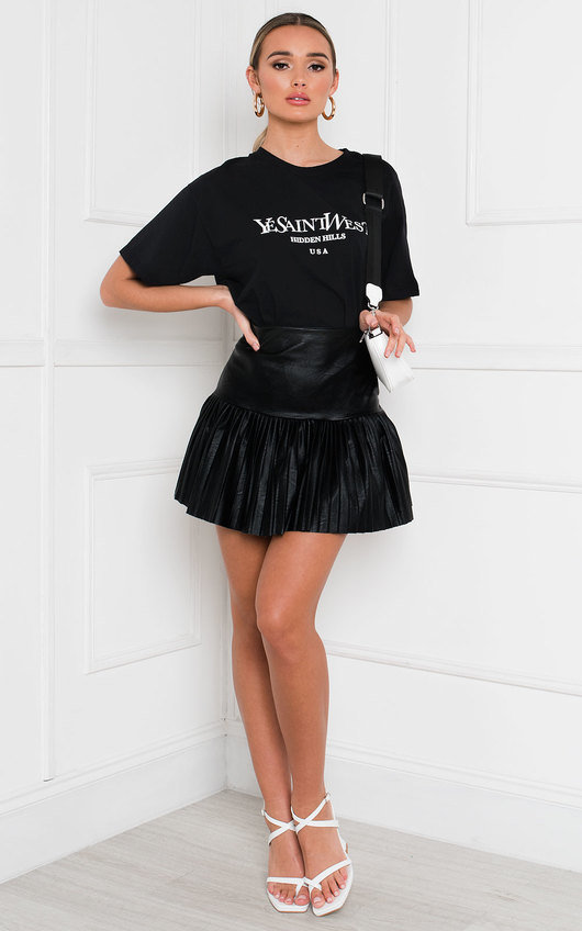 Clarisse Faux Leather Pleated Mini Skirt