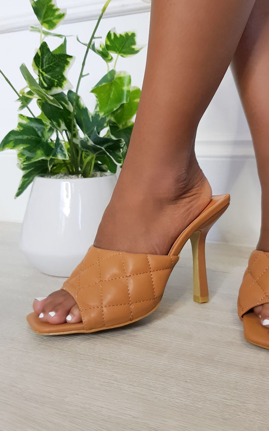 Clarisse Quilted Mule Heels
