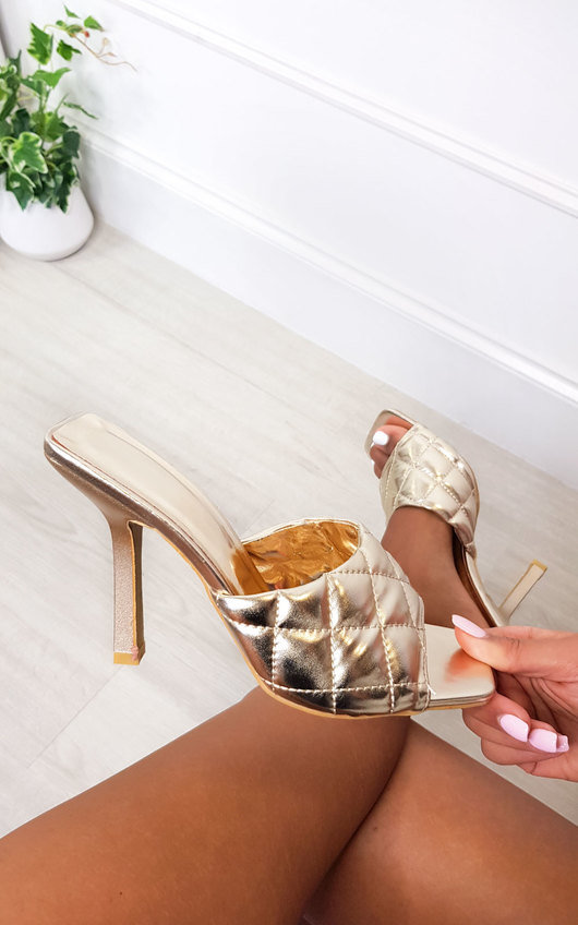 Clarisse Quilted Mule Heels