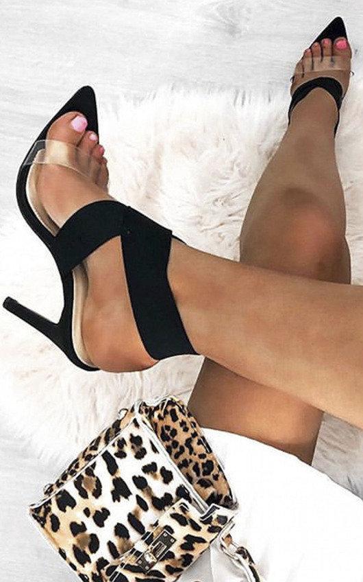 Claudia Lycra Perspex Crossover Heels