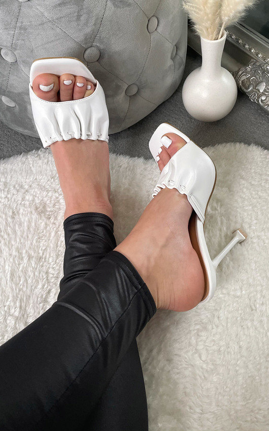 Claudia Ruched Square Toe Heels