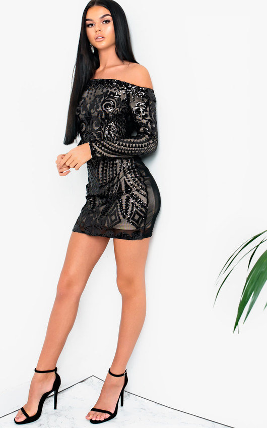 Clelia Sequin Bodycon Off Shoulder Dress