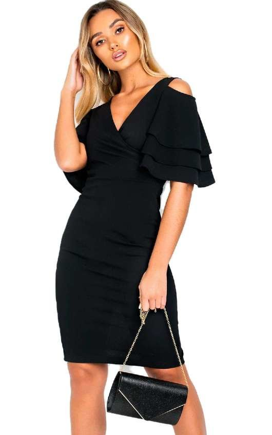 Cleo Cold Shoulder Frill Midi Dress