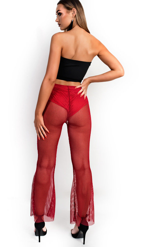Cleo Mesh Flared Trousers