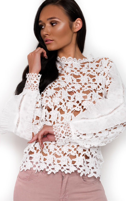 Coco Crochet Frill Long Sleeved Top