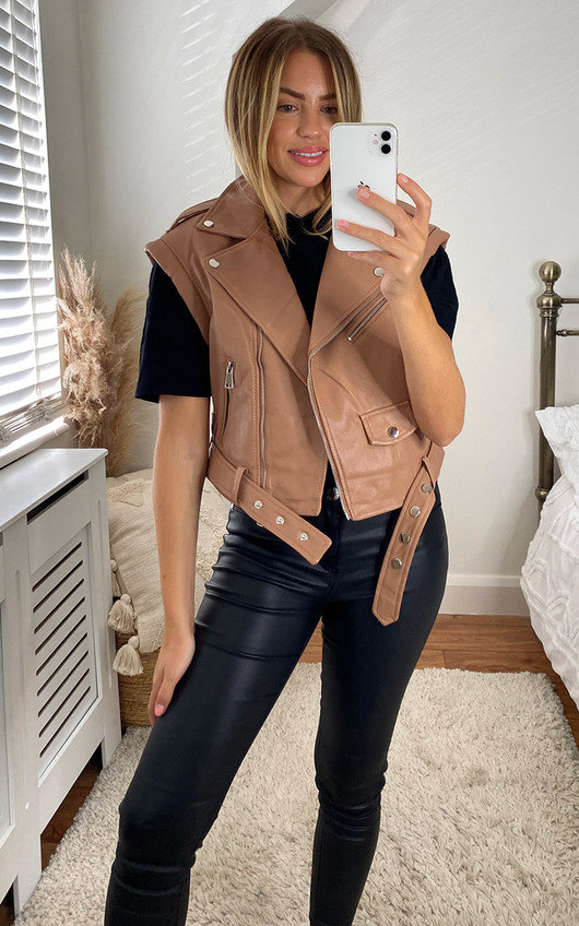 Coco Faux Leather Belted Gilet