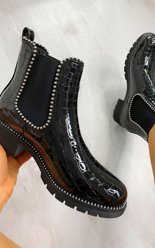 Coco Faux Leather Croc Print Ankle Boots