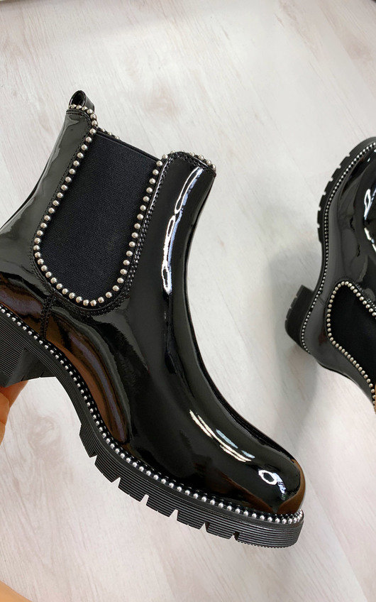 Coco Faux Leather Patent Ankle Boots