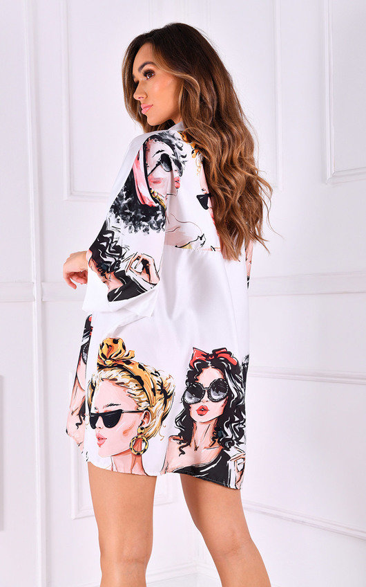 Coco  Oversized Button Up Printed Shirt