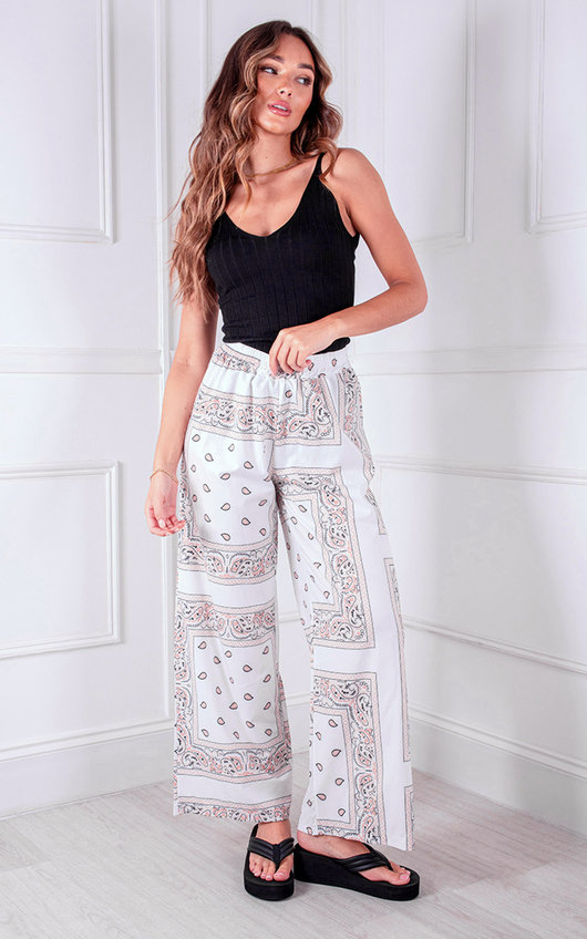 Cole Wide Leg High Waisted Printed Trousers