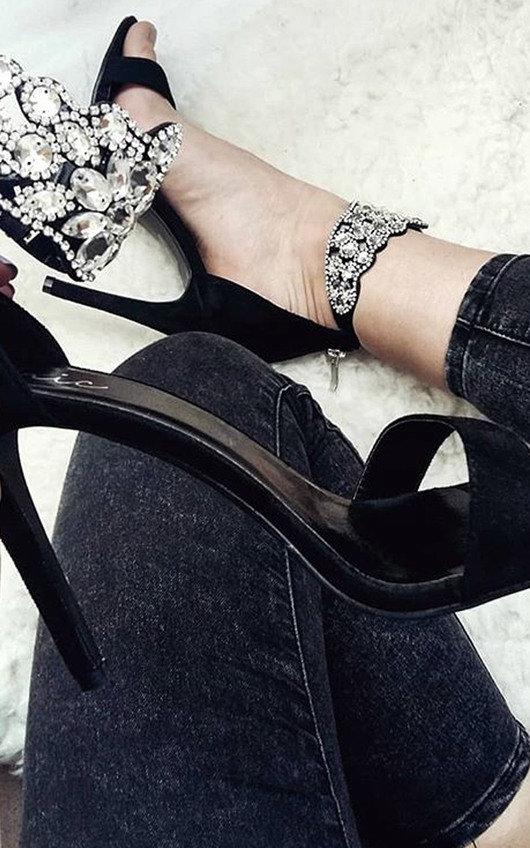 Colette Diamante Strap Peep Toe Heels