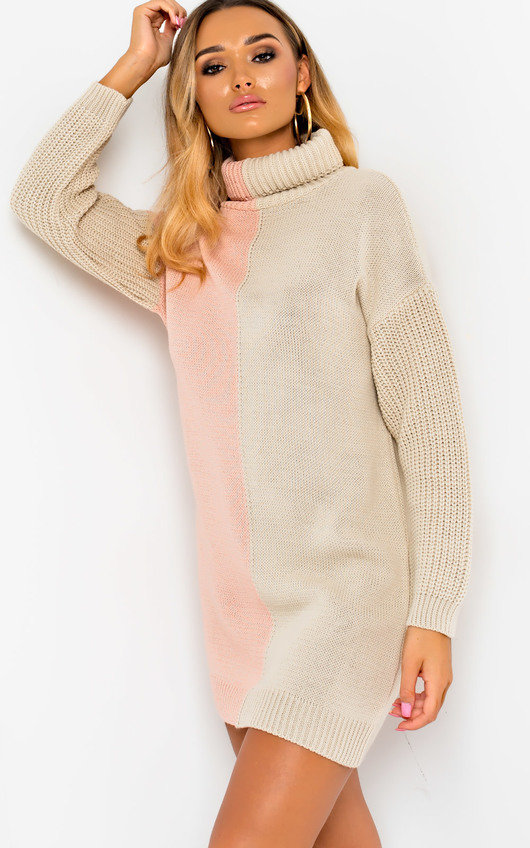 Colleen Knitted Two-Tone Jumper Dress