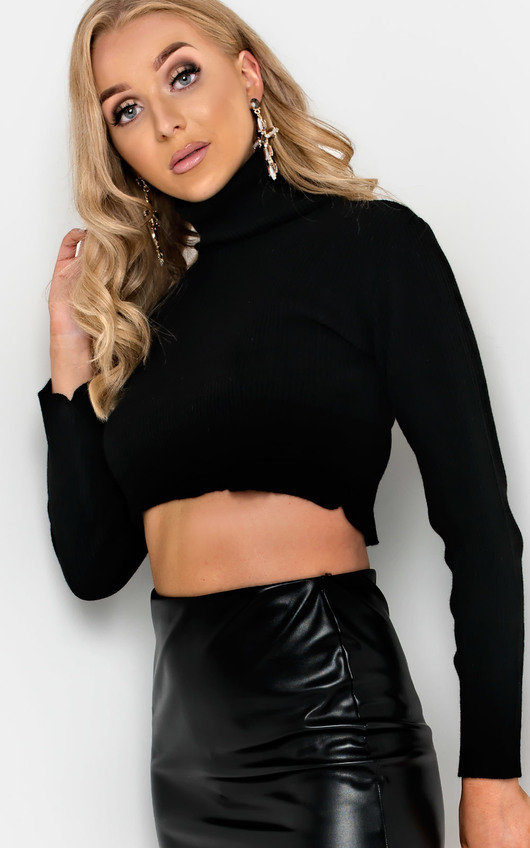 Cora Ribbed Poloneck Crop Top