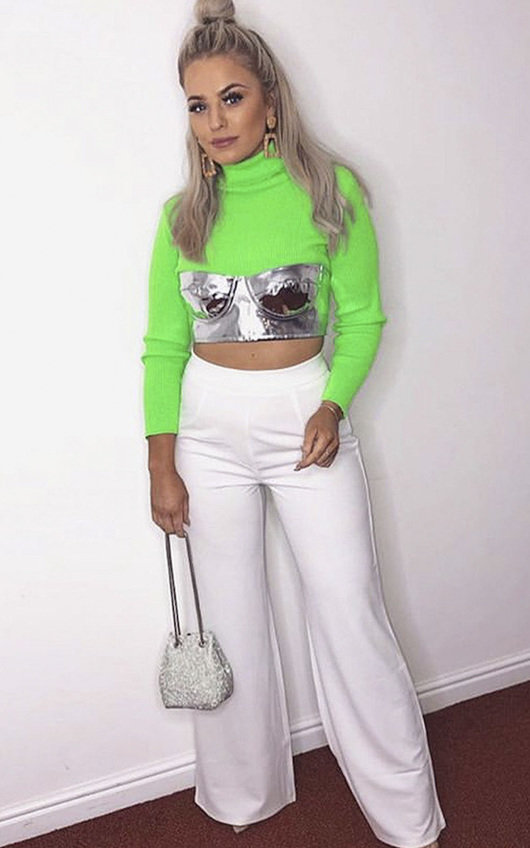 2f59c27e85d Cora Ribbed Poloneck Crop Top in Neon green | ikrush
