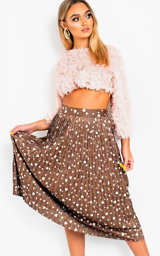 Cora Shimmer Pleated Hearts Midi Skirt