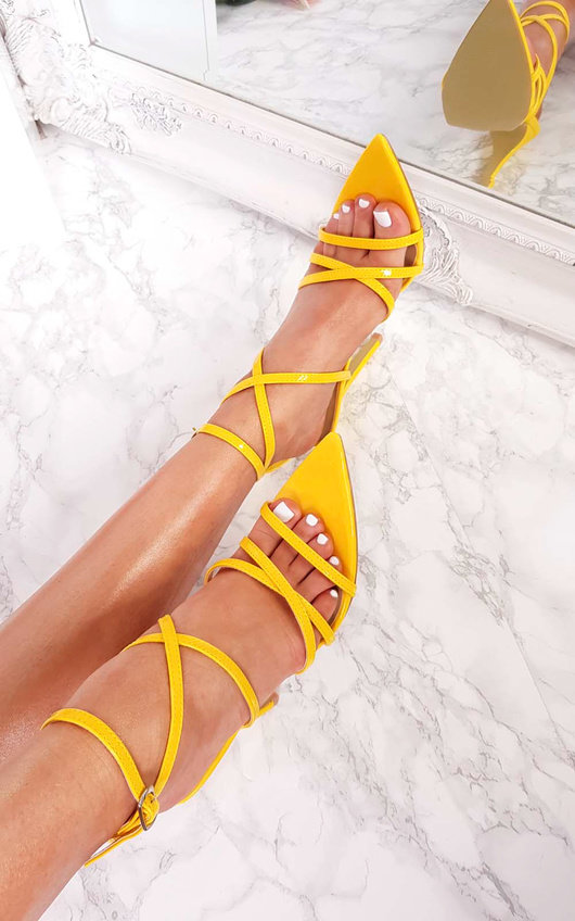 Cora Strappy Patent Pointed High Heels