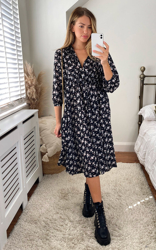Corale Printed Midi Shirt Dress