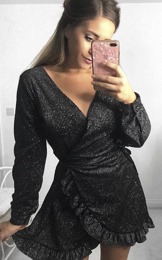 Coralie Velvet Shimmer Wrap Dress