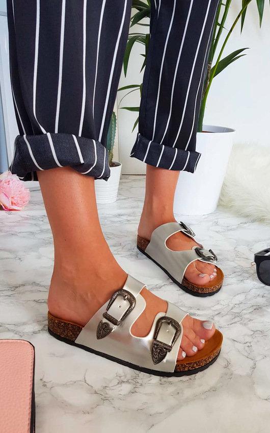 Cori Double Buckle Slip On Sandals
