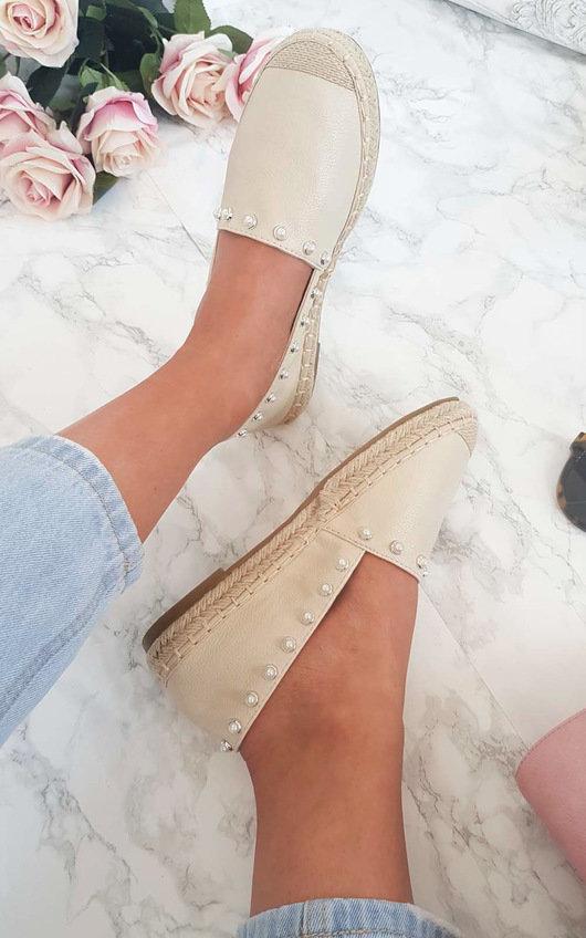 Cori Pearl Studded Espadrille Sandal