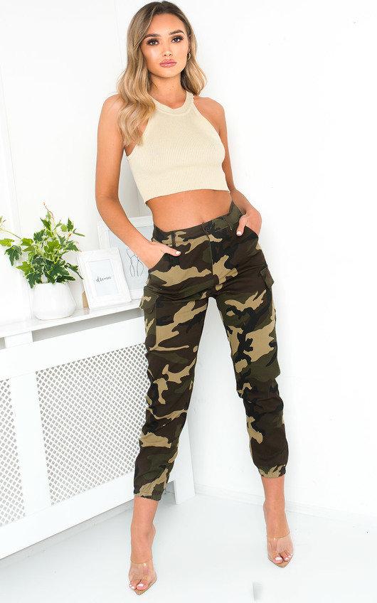 Corrie Cuffed Camo Cargo Trousers