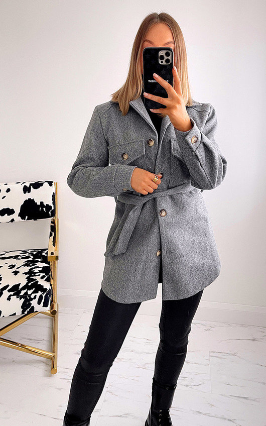 Courtney Belted Jacket with Button Detail