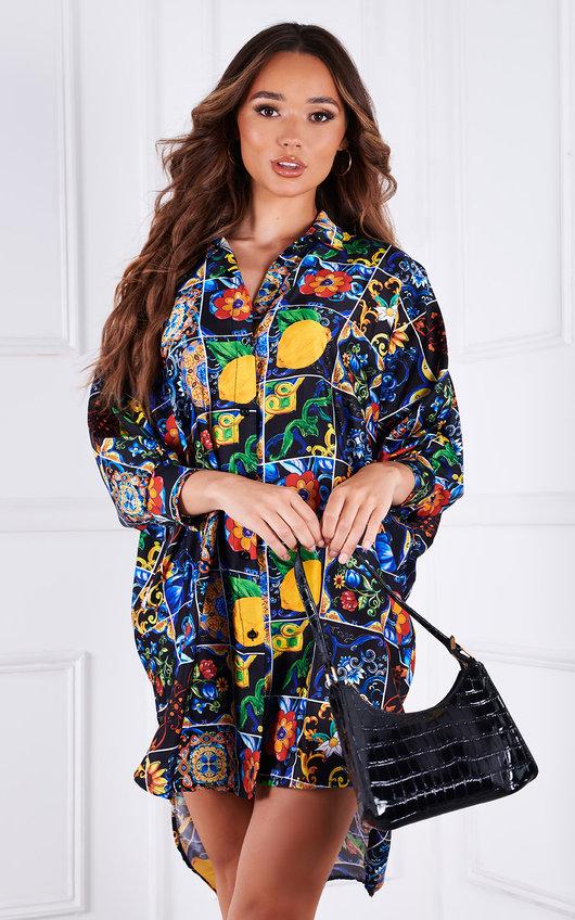 Daffney All Over Printed Oversized Shirt Dress