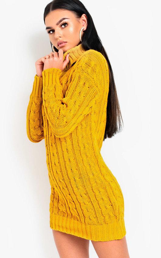 0a13cdc1d6d Daffney Chunky Knit Long Sleeved Jumper Dress in Mustard