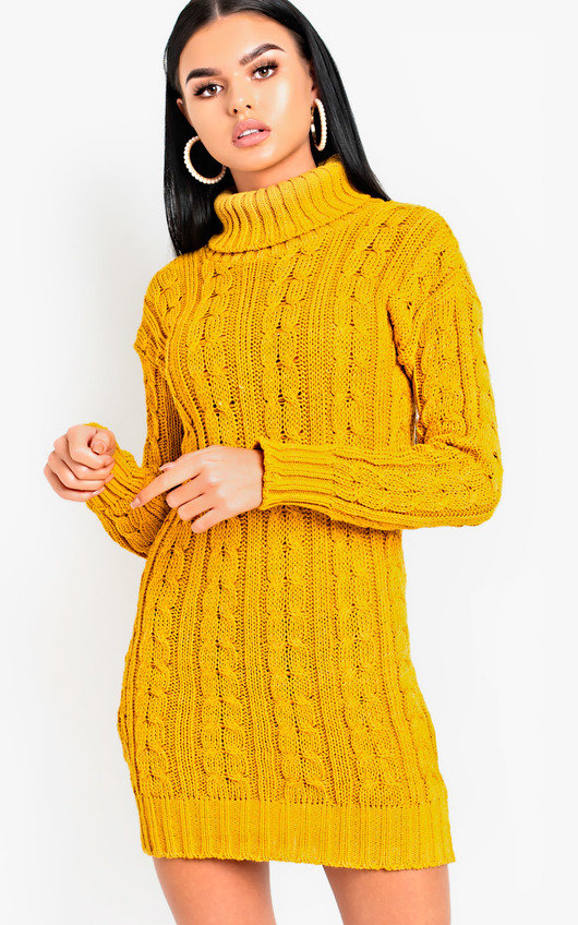 Daffney Chunky Knit Long Sleeved Jumper Dress in Mustard  2c8fa7e98