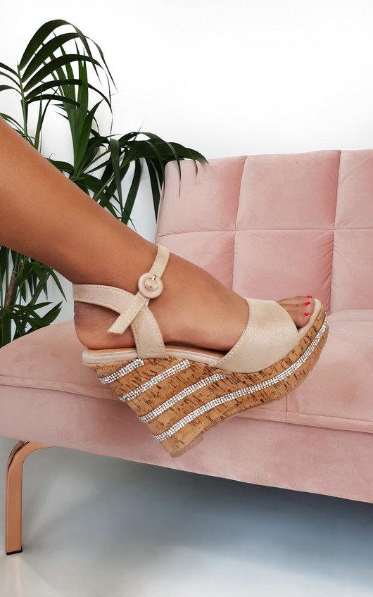 Daffney Diamante Cork Wedged Heel