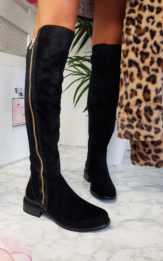 Daffney Zip Knee High Boots