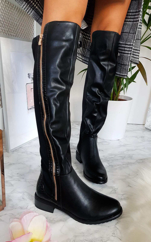 Daffney Zip Knee High Boots