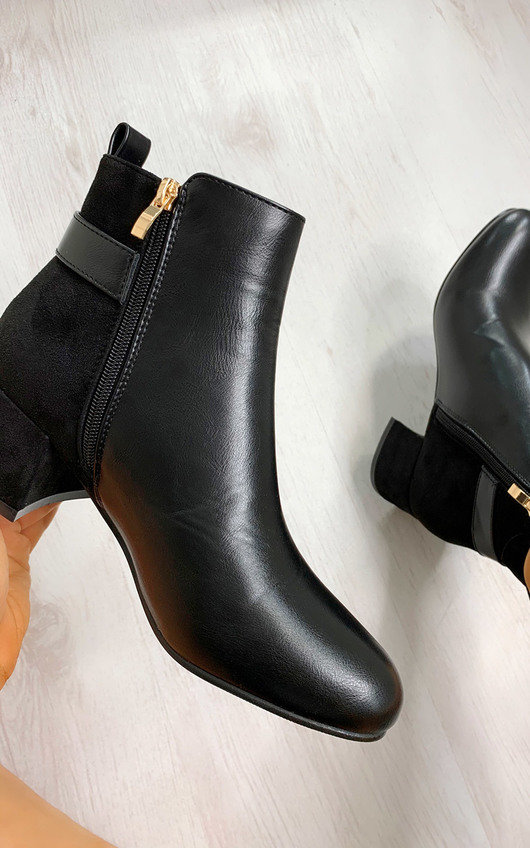 Dahlia Contrast Heeled Ankle Boots