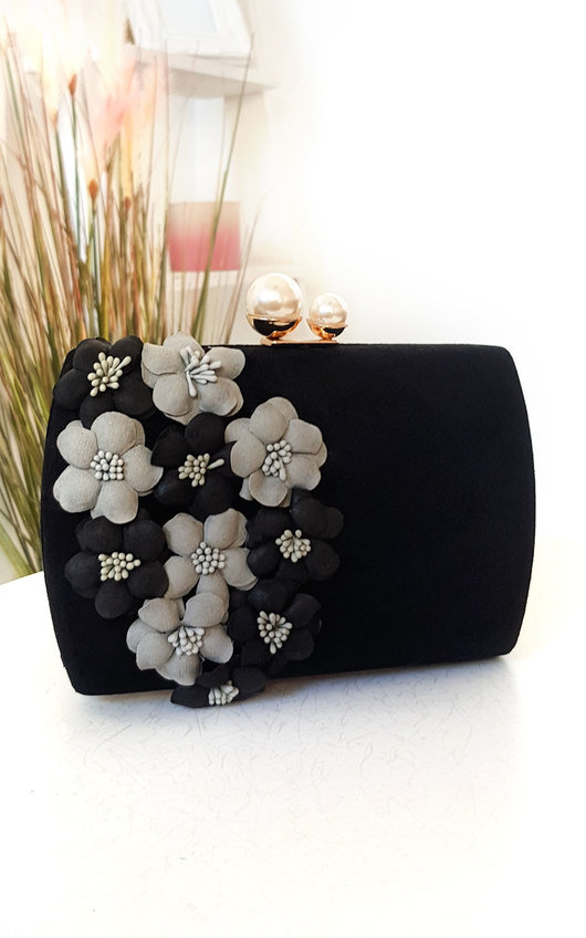 Dahlia Flower Embellished Clutch Bag
