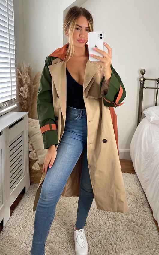 Dakota Colour Block Trench Coat