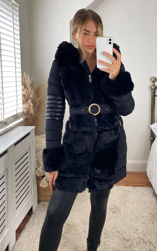 Dana Faux Fur Padded Belted Jacket with Hood