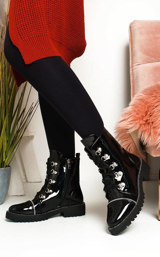 Dani Diamante Eyelet Lace Up Biker Boots