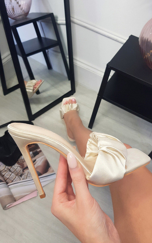 Danielle Satin Mule with Pleated Detail