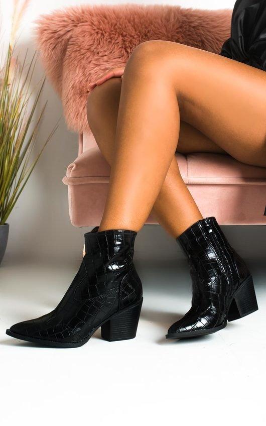 Danni Cowboy Block Heel Ankle Boots