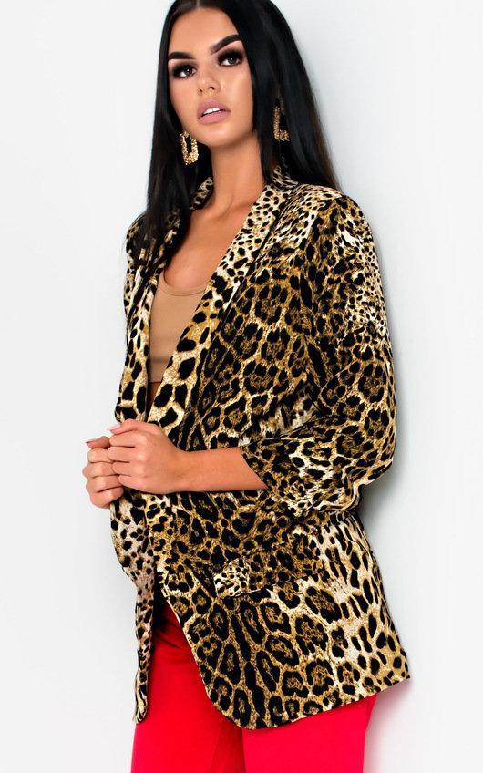Darcie Leaopard Long-Lined Blazer Jacket