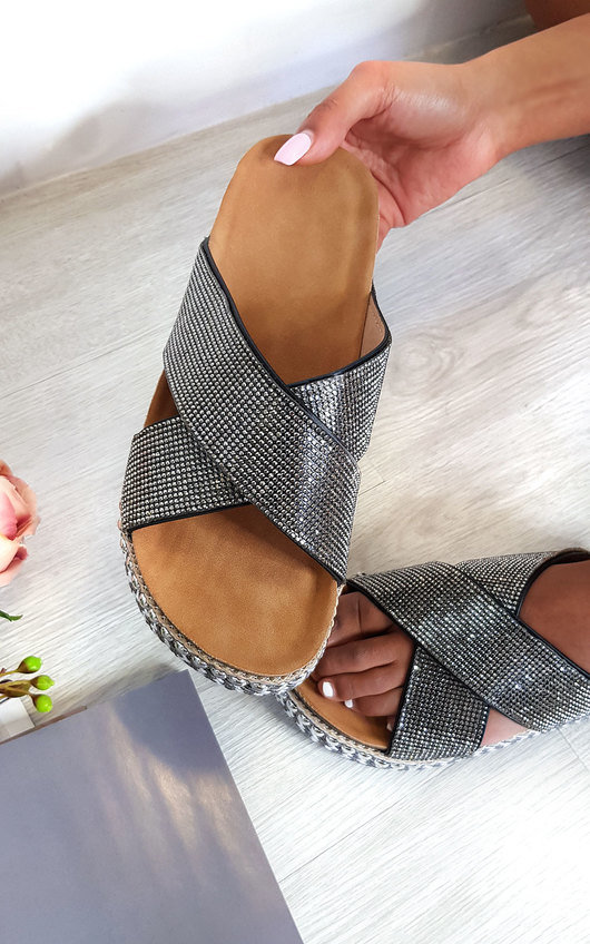 Darcie Woven Flatform Diamante Sandals