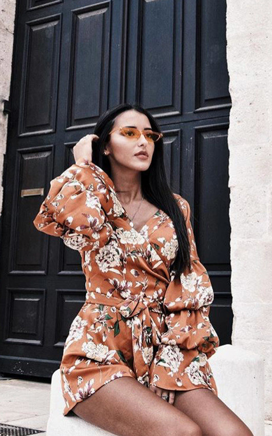 Daria Floral Ruffled Kimono Wrap Playsuit
