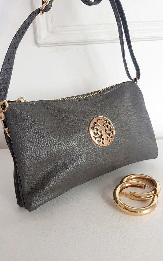 Darla Faux Leather Zip Purse with Wrist Strap and Gold Detail