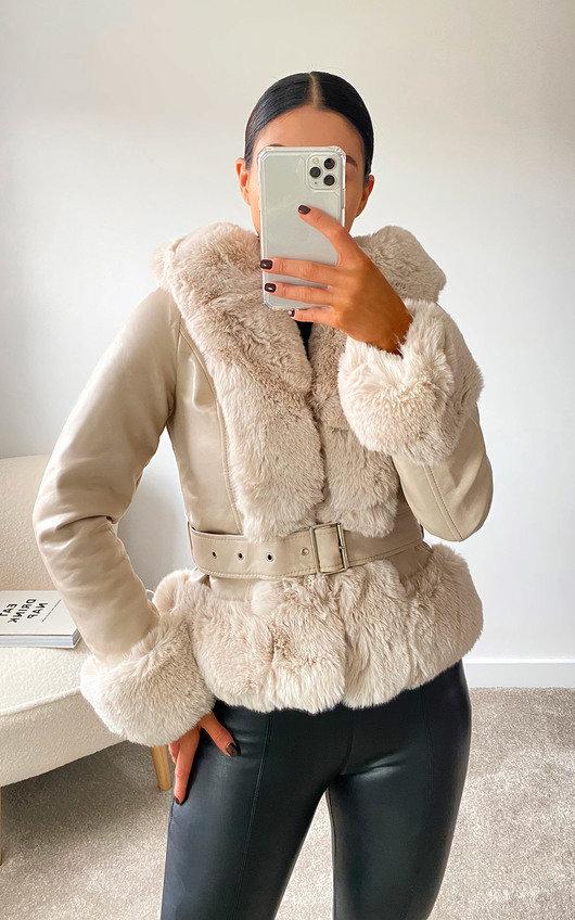 Debbie Faux Leather & Faux Fur Jacket