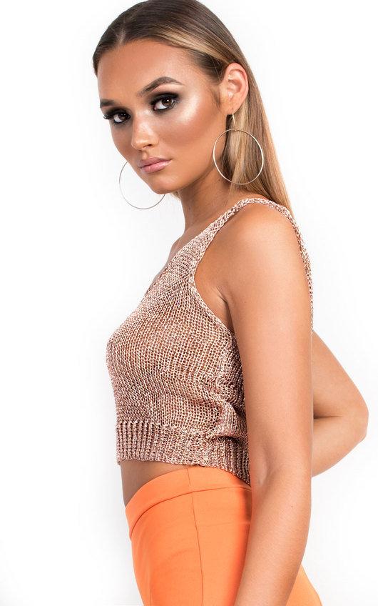 5bed9c2da6f23f Deena Metallic Knitted Crop Top in Rose gold